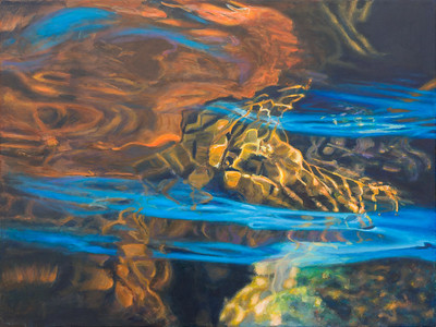Blue and brown reflections in the stream - 80x60cm Acrylic painting on canvas
