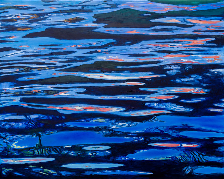 10 Blue waterreflections 1 - 100x80cm Acrylic painting on canvas