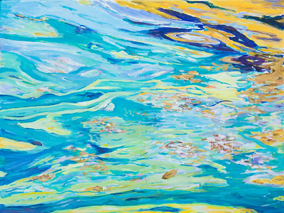 Blue green and yellow abstract waterreflections - 120x90cm acrylic painting on canvas