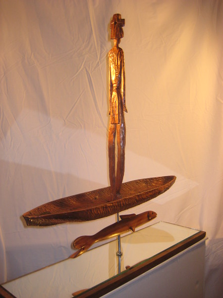 BETWEEN WORLDS ~ PASSAGE<br /> Hawaiian Koa, Kamani, Saltillo Cedar,mirror,steel<br /> H 29 x W 8 x L 28<br /> 2012<br /> back