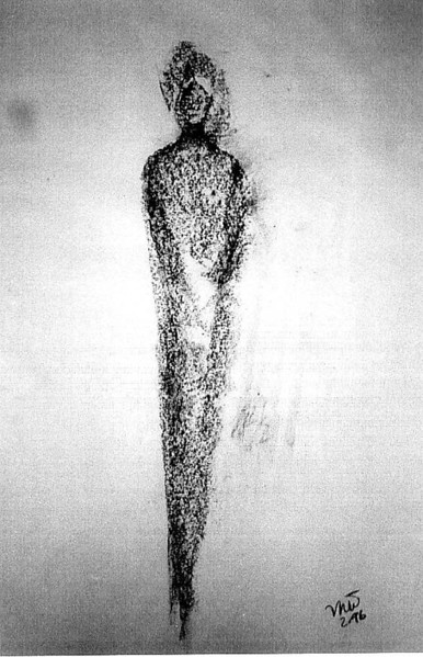 """My Four Guardians No. 1 "" 1996 Charcoal on paper<br /> a ""psychic transmission"" that appeared in seconds<br /> Original, Artist's Collection<br /> Clairvoyants see this one standing in front of me"