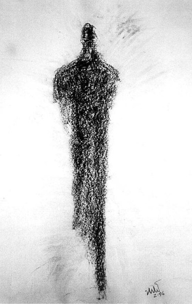 """My Four Guardians: No. 2""  1996  Charcoal on paper<br /> a ""psychic transmission"" that appeared in seconds<br /> Original, Artist's Collection"