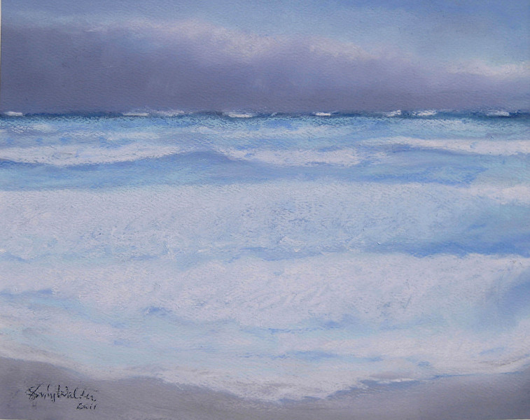 WINDWARD PASTELS from memory ~ HIGH TIDE<br /> 8 x 10 soft pastel on Canson paper<br /> $225  framed SOLD!<br /> 8 x 10 matted prints available $25 each<br /> 2 or more $20 each