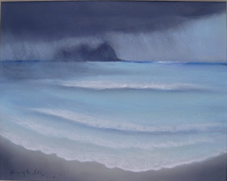 WINDWARD PASTELS from memory~ RAIN ON THE MOKES  8 x 10 soft pastel on Canson paper<br /> $225  framed SOLD!<br /> 8 x 10 matted prints available $25 each<br /> 2 or more $20 each