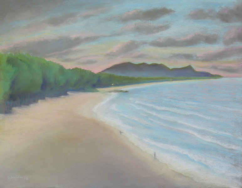 Sherwood Forest,t Waimanalo Bay t<br /> 2006 <br /> 11x14 original soft pastel<br /> drawn on site<br /> $500<br /> $25  8 x 10 matted print<br /> $150 9 x 12 matted giclee print