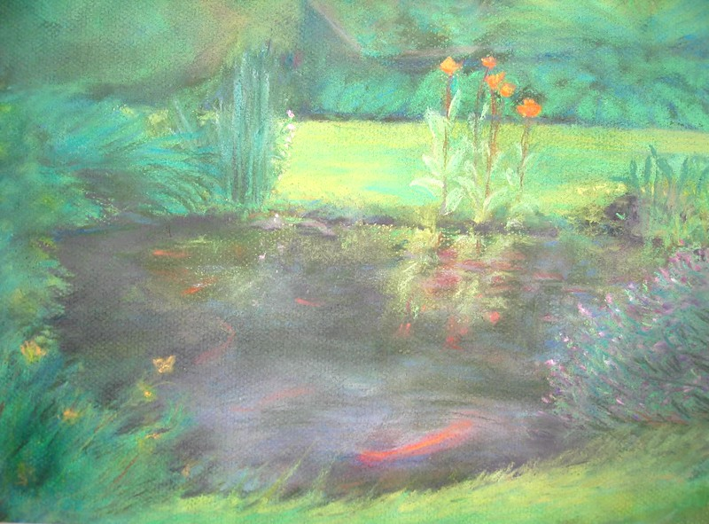 Koi Pond with Wild Canna<br /> 11x14 original soft pastel <br /> drawn on site<br /> 2005<br /> $400 (sold)<br /> $65 16 x 20 matted print Signed Limited Edition of 10 (5 left)<br /> $25 8x10 matted prints