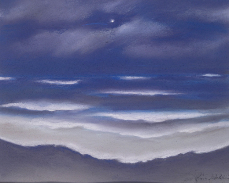 WINDWARD PASTELS from memory ~ NIGHT OCEAN<br /> 8 x 10 soft pastel on Canson paper<br /> $225 framed<br /> 8 x 10 matted prints available $25 each<br /> 2 or more $20 each