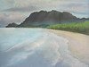 Journey to the Lighthouse. Waimanalo Bay<br /> 2006 <br /> 11x14 original soft pastel<br /> drawn on site<br /> $650<br /> $25  8  x 10 matted print<br /> $150 9 x 12 matted giclee print