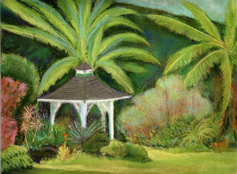 Olomana Gardens, Gazebo with Dog<br /> 2004 Original soft pastel<br /> 11 x 14 framed $95. <br /> 8 x 10 Prints $15 each.