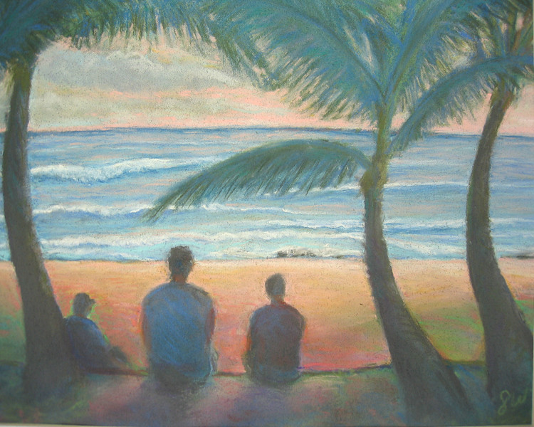 Sandy Beach Quiet Time<br /> 11 x 14 original soft pastel<br /> drawn on site<br /> 2005<br /> $400 (sold)<br /> $65 16 x 20 matted print  Signed Limited Edition of 10 (5 left)<br /> $25 9x10 matted print