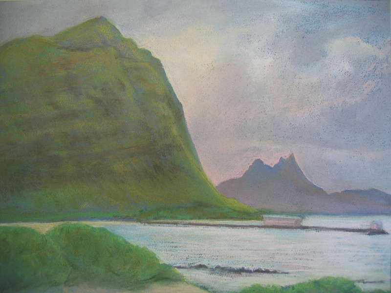 Cockroach Cove, Windward O'ahu<br /> 11x14 original soft pastel<br /> drawn on site<br /> 2005 <br /> $400 (SOLD) <br /> $65 16 x 20 matted print  Signed Limited Edition of 10 (3 left)<br /> $25 8x10 matted print<br /> Third Prize, Pastel Artist's of Hawaii Exhibit 2005, Honolulu