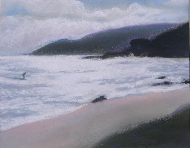 WIINDWARD PASTELS ~ WINTER SURF<br /> 8 x 10 soft pastel on Canson paper<br /> $225 framed<br /> 8 x 10 matted prints available $25 each<br /> 2 or more $20 each