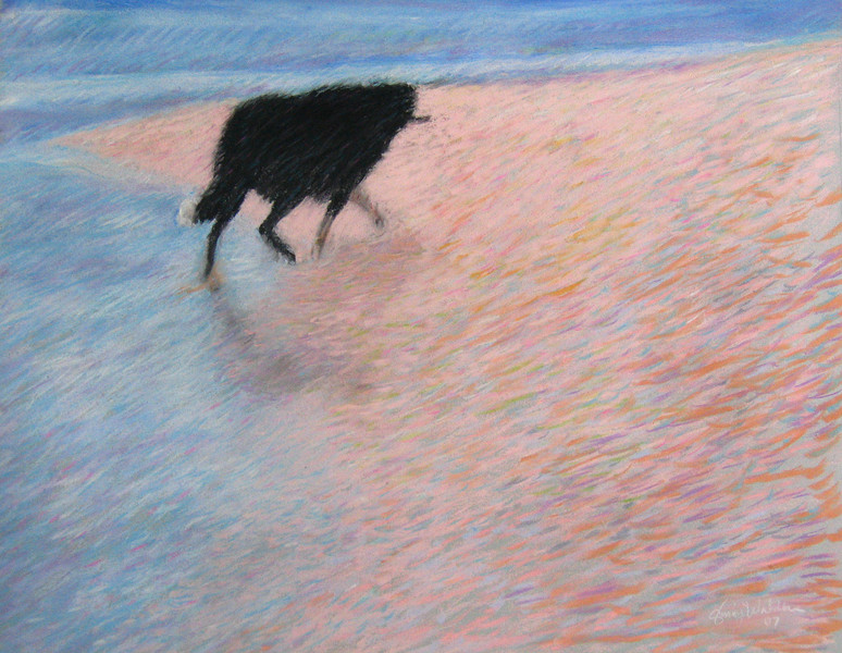 DOG WITH STICK<br /> 16 x 20 soft pastel on Canson paperi<br /> NFS ARTIST'S COLLECTION<br /> giclee and inkjet prints available