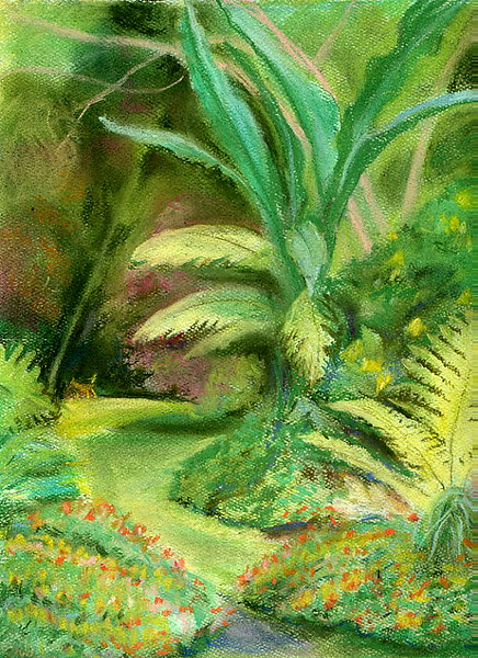 Olomana Gardens, Secret Path with Dog <br /> 2004 Original soft pastel <br /> 11 x 14 framed $95. <br />  8 x 10  Prints $15 each.