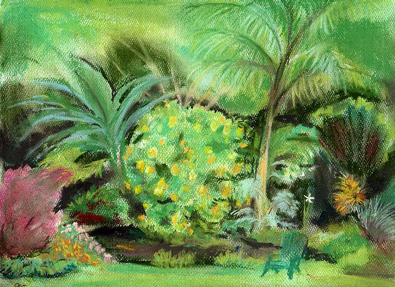 Olomana Gardens, Waimanalo's Secret <br /> Original soft pastel<br /> 8 x 10 Prints <br /> 2004