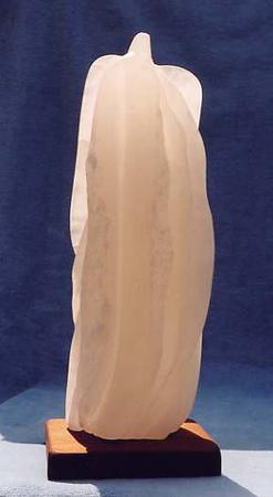 "Guardian Series: ""Archangel""  Italian crystal alabaster<br /> H 14.5"" x W 5"" x L 5""  Hawaiian Koa wood base <br /> $1500."