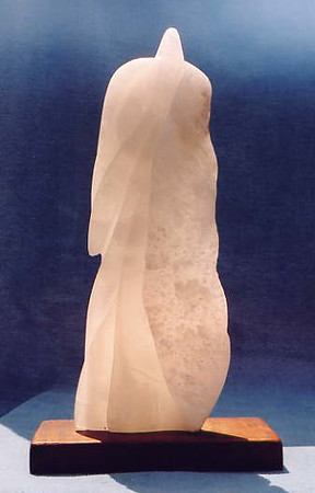 "Guardian Series: ""Guardian Angel"" Italian crystal alabaster<br /> H 12.5"" x W 4"" x L 2"" Hawaiian Koa wood base<br /> $1100."