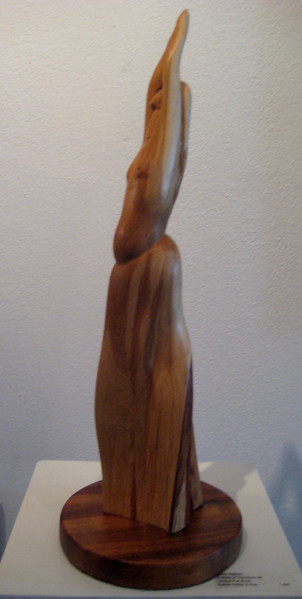 Moon Phase No 2 ~ FULL MOON<br /> NM Saltillo Cedar, Koa base<br /> H 19 x W 6.5 x L 6.5     $1200.<br /> I chose light colored cedar to express the bright Full Moon. She is pregnant, reaching her full potential.<br /> This skirt was already there! A gift of grace from the wood. Commission your favorite Moon Phase!