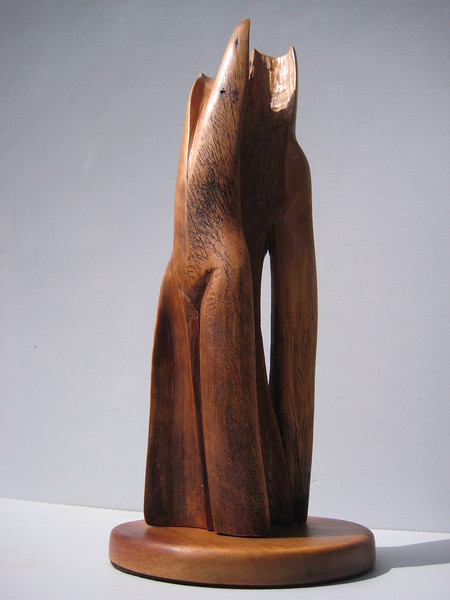 "SOULMATES  <br /> Saltillo Cedar <br /> H 17 x W 6 x W 6""    2010  <br /> Prototype for enlarged cast in bronze or aluminum<br /> $2200."