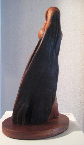 MOON PHASE No. 3 ~ DARK MOON HIDING<br /> H 14 X W 8 X D 6  Hawaiian Kamani   $2200.<br /> hair and color is the natural bark<br /> see Artistic Process gallery to see carving process