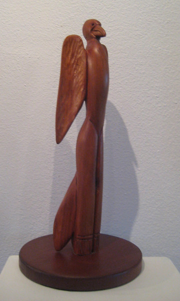 ALALA Raven Woman Dreaming 7 Feathers<br /> NM Red Cedar    H15 x W7 x L7<br /> NM ARTIST'S COLLECTION<br /> Commission a Raven or any bird carving!