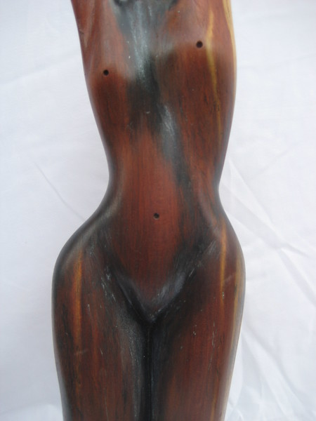 Moon Phases No 1 ~ Promise of the New Moon<br /> Red Cedar     detail front torso<br /> 2012<br /> $795<br /> SOLD!<br /> Commission a Moon Phase!