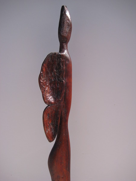 Shape Shifter Series ~ BUTTERFLY WOMAN<br /> Hawaiian Koa  detail right side  torso<br /> $795<br /> tiny waist is hint of a woman's body