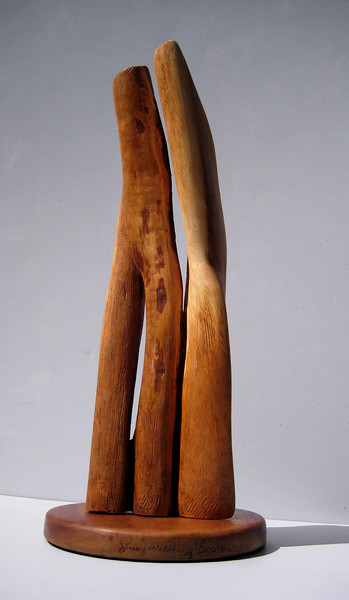 SOULMATES<br /> NM Saltillo Cedar<br /> H 18 x W 7.5 x L 7.5  $1100  SOLD!<br /> Notice twisting of form..like a tree grows<br /> feeling of life force creates a good sculpture