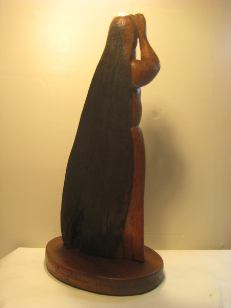 MOON PHASE No. 3 ~ DARK MOON HIDING<br /> H 14 X W 8 X D 6 Hawaiian Kamani wood $2200.