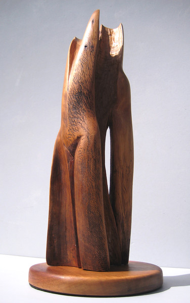 SOULMATES<br /> New Mexico Saltillo Cedar, koa base<br /> H 22.5 x W 7.5 x L 7.5<br />  right front<br /> $1100<br /> SOLD!<br /> notice how spaces create an experience of 3 dimensions<br /> like you are walking thru canyons or large trees