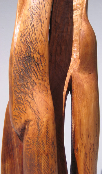 SOULMATES<br /> New Mexico Saltillo Cedar, koa base<br /> H 22.5 x W 7.5 x L 7.5 $1100  SOLD!<br /> imagine you are at eye level<br /> and then notice how large this feels! <br /> This piece could be cast 10 ' tall and placed in a park
