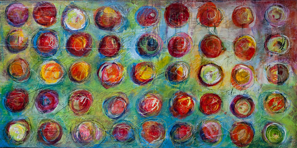 Maren Dots, 18 x 36 inches, sold