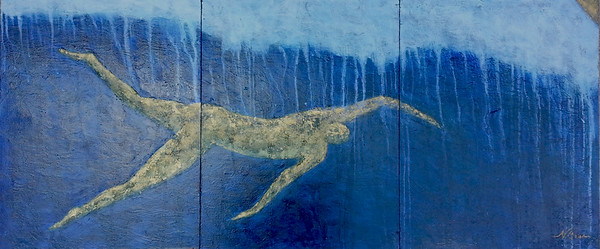 Oil on cradled wooden panels, 48x20x2 inches. California, 2012.  Golden swimmer swims under the lip of a breaking wave --- or body surfer strokes into the face of the wave.