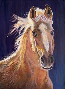 """Dancer"" Palomino horse portrait"