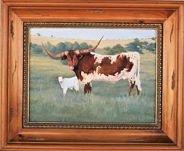 Show Stopper with New Calf 12x16 oil on panel