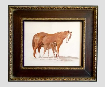 Mare and Foal 11x14 oil on paper framed SOLD