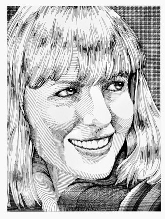 Diane Keaton Portrait<br /> Etching<br /> By Laura D. Hoffman, nee Laura Altman