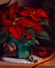 """Poinsettia and Christmas Balls"" - Oil - 16""x20"""