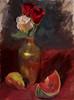 "Roses, Pear, Watermelon - Oil - 16"" x 12"""