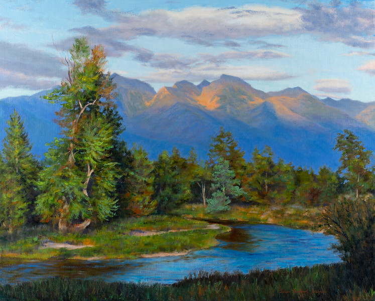 """Flathead River and the Missions, Sunset - Oil - 24""""x 30"""" - Sold"""