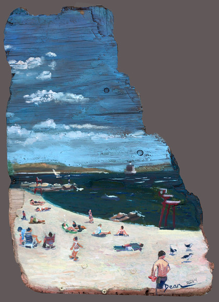 Ocean Beach on drift plywood