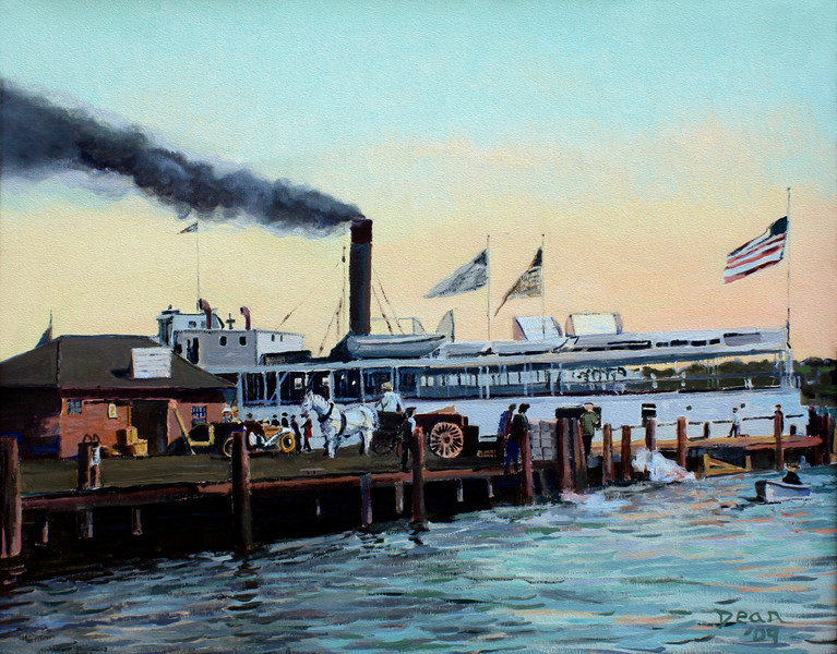 Ferry at New London Dock after antique postcard