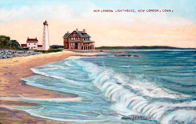 New London Harbor Light after antique postcard