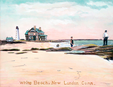 White Beach, New London CT (after antique postcard)