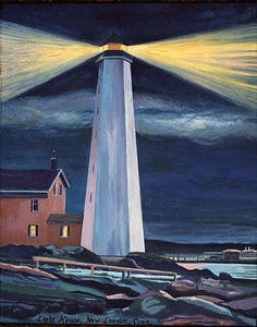 New London Harbor Light (after antique postcard)