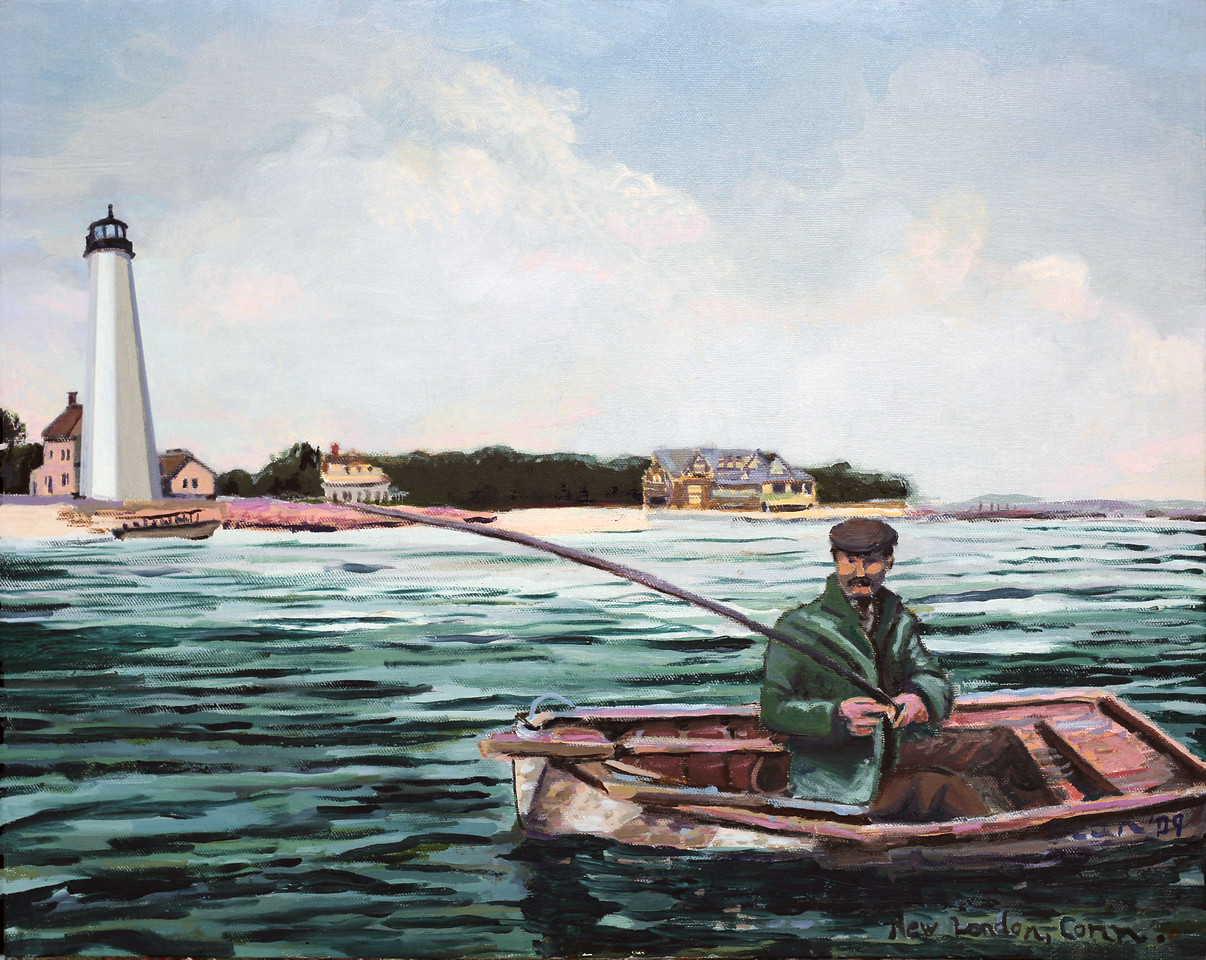 Fisherman in Dory by New London Harbor Light