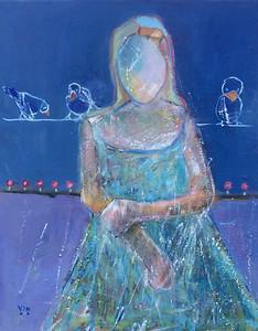 Jeune fille et  les oiseaux 16 X 20 Oil