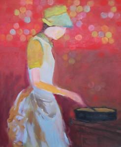 Dans la cuisine 16 X 24  Oil