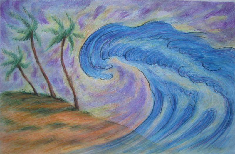 Tsunami II (watercolor and color pencils)