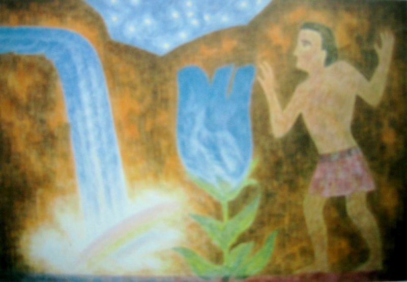 Tristan and the Blue Flower 1 (watercolor)